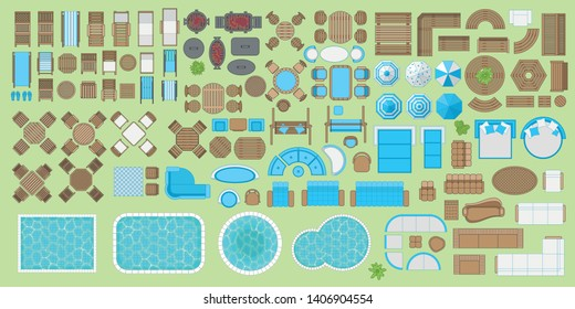 Icons set. Outdoor furniture and patio items. (top view) Isolated Vector Illustration. Tables, benches, chairs, sunbeds, paths, pool, swings, umbrellas. (view from above). Furniture store.