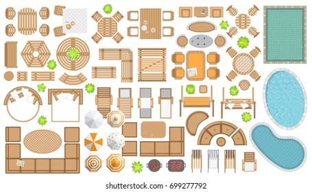 Icons set. Outdoor furniture and patio items. (top view) Isolated Vector Illustration. Tables, benches, chairs, sunbeds, pools, swings, umbrellas, plants. (view from above).