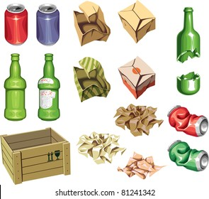 The icons set: Package and Trash. The junk package ready to recycling: the bottles, the cans and the boxes.  Includes the Illustrator 8.0 editable vector EPS file and Hi-res JPG.