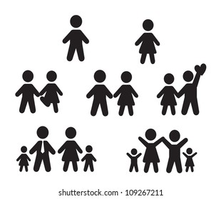 Icons set people over white background