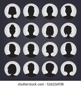 Icons set of people stylish avatars for profile page, social network, social media, man and woman characters. Vector human silhouettes.