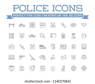 Icons Set of Police Related Icons, Vector.