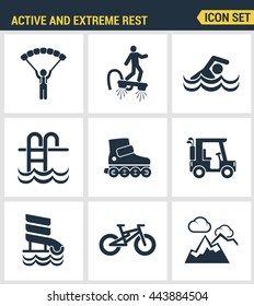 Icons set premium quality of active and extreme rest holiday weekend sports hobby life style. Modern pictogram collection flat design  symbol. Isolated white background
