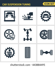 Icons set premium quality of car suspension tuning transport mechanic garage repair. Modern pictogram collection flat design style symbol. Isolated white background