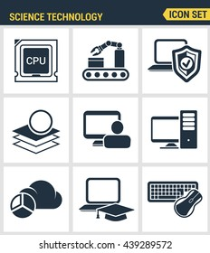 Icons set premium quality of data science technology, machine learning process. Modern pictogram collection flat design style symbol. Isolated white background