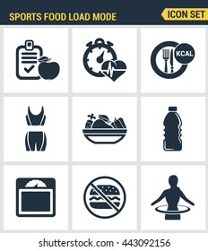 Icons set premium quality of fitness Sports food load mode burn calories healthy diet. Modern pictogram collection flat design style symbol. Isolated white background