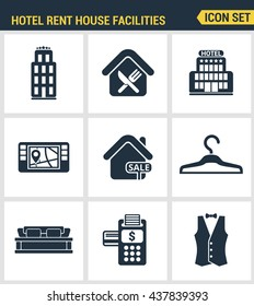 Icons set premium quality of hotel service amenities, rent house facilities. Modern pictogram collection flat design style symbol. Isolated white background