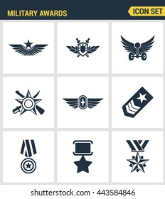 Icons set premium quality military award star medal winner prize victory. Modern pictogram collection flat design style symbol. Isolated white background