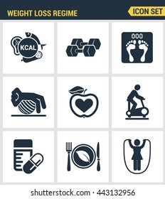 Icons set premium quality of weight loss regime fitness gymnastics gum. Modern pictogram collection flat design style symbol. Isolated white background