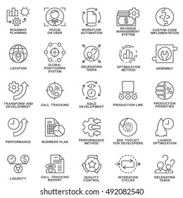 Icons set of production management. The thin contour lines.