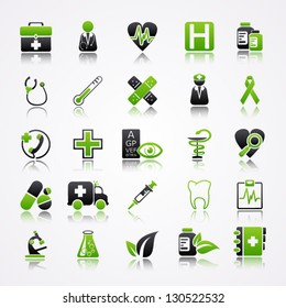 Icons set with reflection: Medicine
