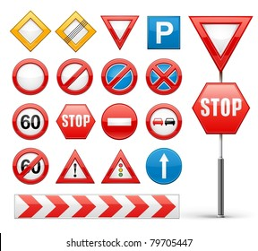 icons set of road signs vector illustration isolated on white background