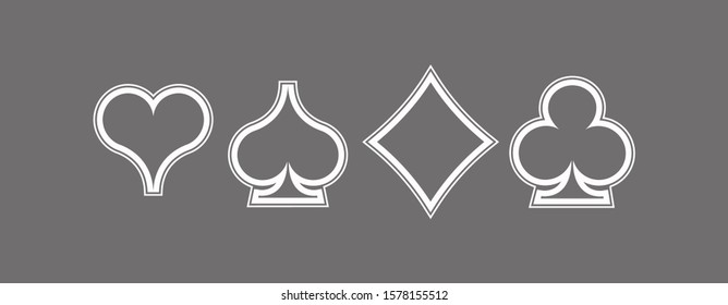 Icons Set shape diamonds, clovers, hearts, spades Four Playing card suits icons template. High quality outline Playing card suit shape symbol pictogram for web design or mobile app on gray background