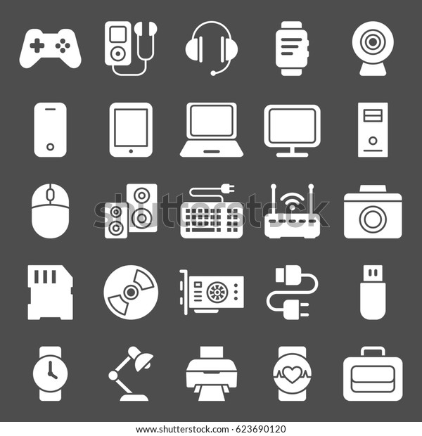 Icons set of smart devices and gadgets, computer equipment and electronics. Modern icons for Web and Mobile. Vector illustration