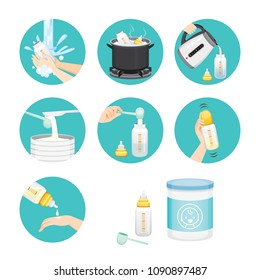 Icons Set Of Steps To Preparing Baby Bottle, Mother's day, Suckling, Infant, Motherhood, Innocence