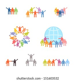 Icons set of successful teamwork and cooperation. EPS 10 vector illustration