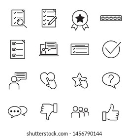 Icons Set of Survey Related Vector Simple Line. Management line icons. Startup strategy and Employees linear icons. The illustrations are a vector, Startup and Teamwork symbols.