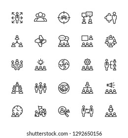 Icons set of teamwork, office, business and people. Editable vector stroke 64x64 Pixel.