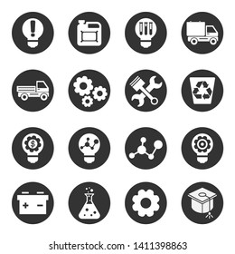 Icons set of technology, science, industry.