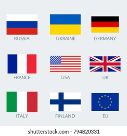 Icons set of various country's flags. Collection flags of Russia, European Union, Ukraine, Germany, France, USA, UK, Italy and Finland. Vector illustration.