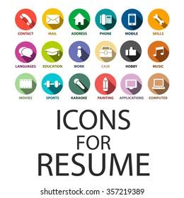 Icons set for your Resume, CV, Job