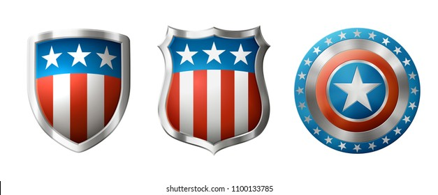 Icons of shields, with american traditional design, EPS 10 contains transparency.