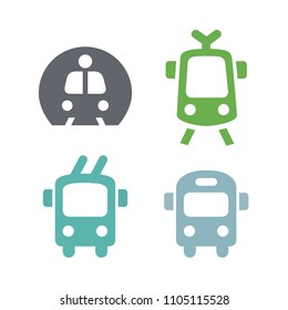 Icons sign simple public transport. Metro bus trolleybus tram. Very stylish trendy In one style. Vector illustration flat stock
