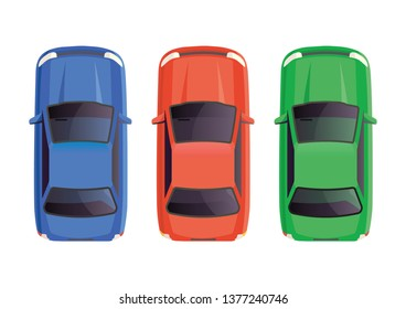 icons signs of sports modern cars top view, white isolate background, cars stand in traffic, delivery of goods, flat design