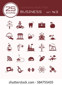 Icons silhouettes business set 3
