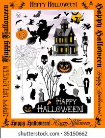 icons, silhouettes, & simplified vector renditions of  Halloween related objects-for more of the same -See SS#85254637