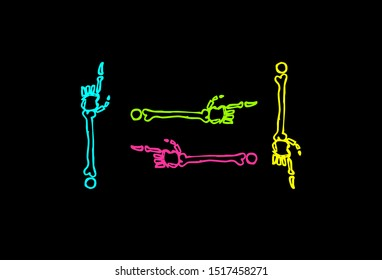 Icons of skeleton and monster hand pointing finger in simple style and bright colors.