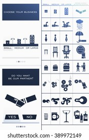 Icons for small, medium and large businesses and partner companies