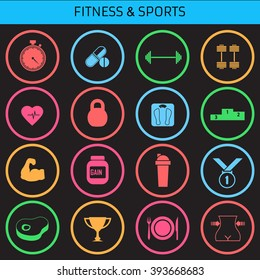 Icons for smart watch. Web icons set for fitness and a healthy lifestyle. Flat design.