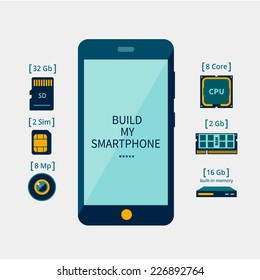 Icons of the smartphone and its component parts