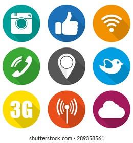 Iconos para ilustración vectorial de redes sociales en plano