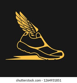 Icons sports shoes with wings.