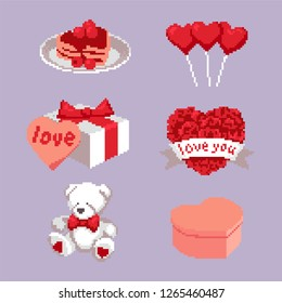 Icons of sugary hearts, gifts, bear, balls and pancakes for Valentine's Day in pixel art style