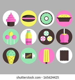 Icons of sweets, candies and cakes.