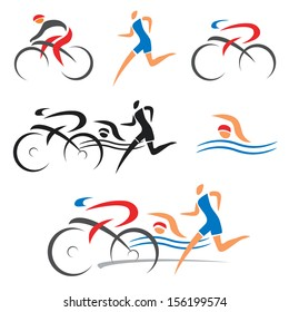 Icons symbolizing triathlon, swimming, running and cycling. Vector illustration.
