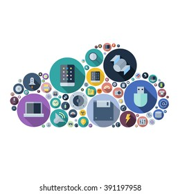 Icons for technology and electronic devices arranged in cloud shape. Vector illustration.