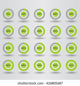 icons template pie graph circle percentage green chart 5 10 15 20 25 30 35 40 45 50 55 60 65 70 75 80 85 90 95 100 % set illustration round vector