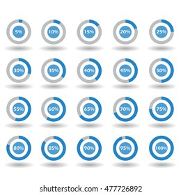 icons template pie graph circle percentage blue chart 5 10 15 20 25 30 35 40 45 50 55 60 65 70 75 80 85 90 95 100 % set illustration round vector