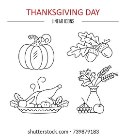 Icons Thanksgiving Day. Vector illustration.