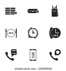 Icons for theme food delivery. White background