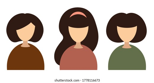 Icons of three girls in different colors. Bust of a woman. Host, blogger, TV presenter. ID photo concept bust shot. White background flat vector stylish illustration stock.