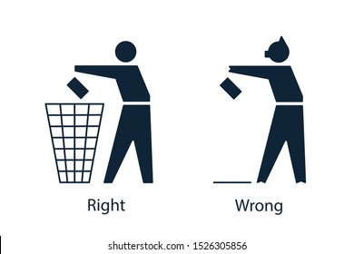 Icons with tidy man that throws away waste to the bin and pig that drops garbage to the floor. Responsible and irresponsible attitude to the environment concept. Vector illustration.