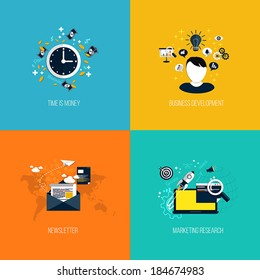 Icons for time is money, business development, newsletter and marketing research. Flat style. Vector