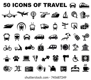 Icons of transporation, travel, hotels and trips