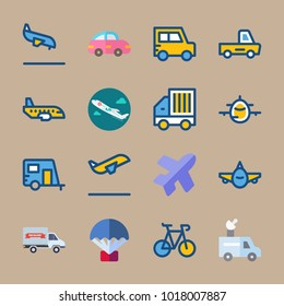 icons Transport with aircraft, plane, airplane, backside  and autotruck