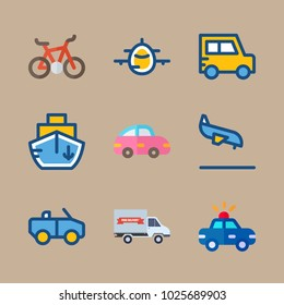 icons Transport with arrival, boat, airplane, offroad and police car